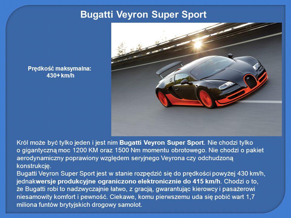 Bugatti Veyron Super Sport Król może być tylko jeden i jest nim Bugatti Veyron Super Sport. Nie chodzi tylko o gigantyczną moc 1200 KM oraz 1500 Nm mo