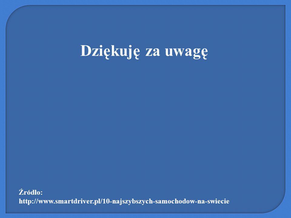 Dziękuję za uwagę Źródło: http://www.smartdriver.pl/10-najszybszych-samochodow-na-swiecie