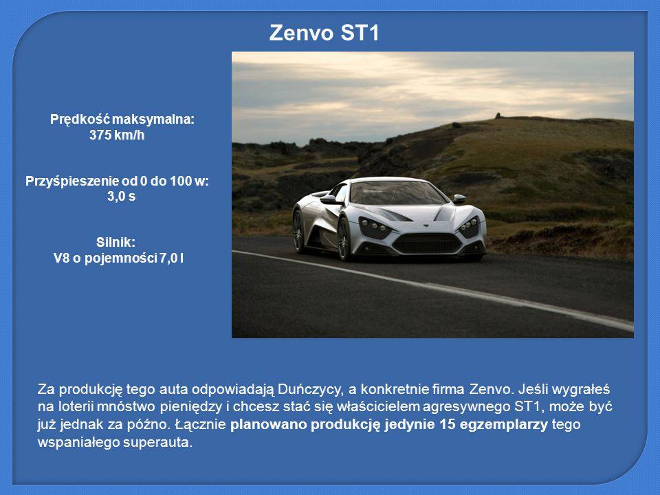 Zenvo ST1 Za produkcję tego auta odpowiadają Duńczycy, a konkretnie firma Zenvo. Jeśli wygrałeś na loterii mnóstwo pieniędzy i chcesz stać się właścic