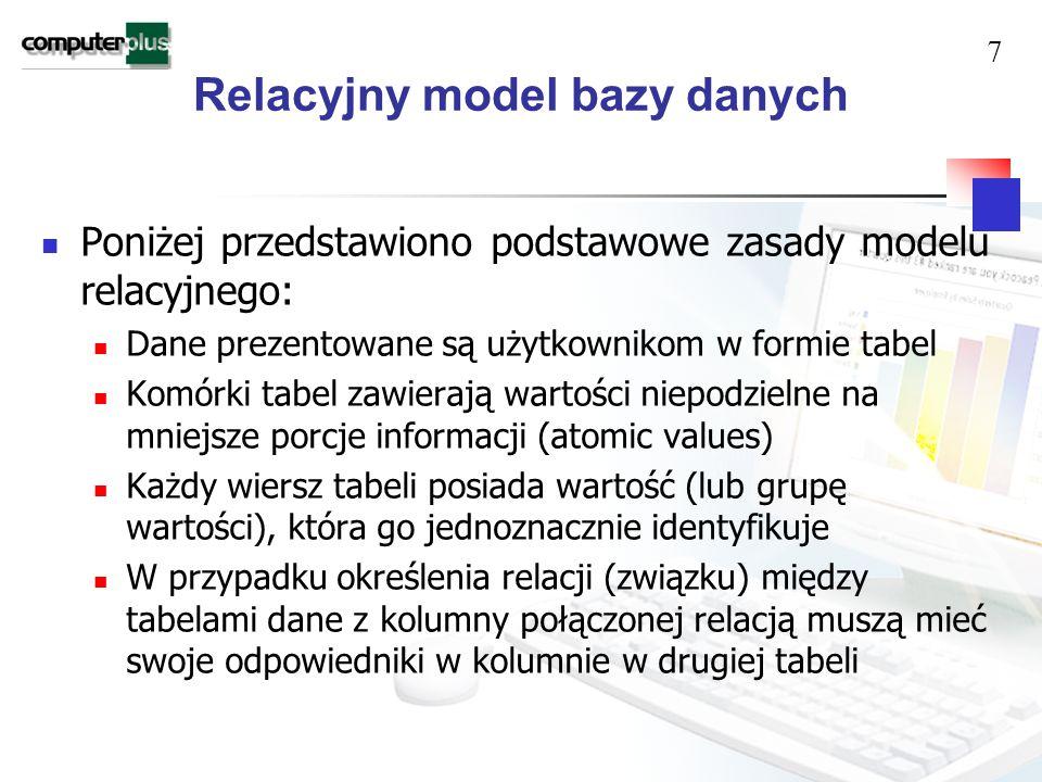Relacyjny model bazy danych Poniżej przedstawiono podstawowe zasady modelu relacyjnego: Dane prezentowane są użytkownikom w formie tabel Komórki tabel zawierają wartości niepodzielne na mniejsze porcje informacji (atomic values) Każdy wiersz tabeli posiada wartość (lub grupę wartości), która go jednoznacznie identyfikuje W przypadku określenia relacji (związku) między tabelami dane z kolumny połączonej relacją muszą mieć swoje odpowiedniki w kolumnie w drugiej tabeli 7