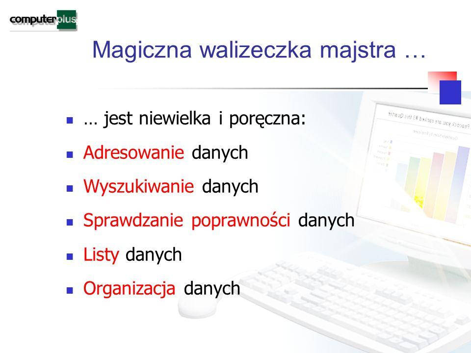 Magiczna walizeczka majstra … … jest niewielka i poręczna: Adresowanie danych Wyszukiwanie danych Sprawdzanie poprawności danych Listy danych Organizacja danych