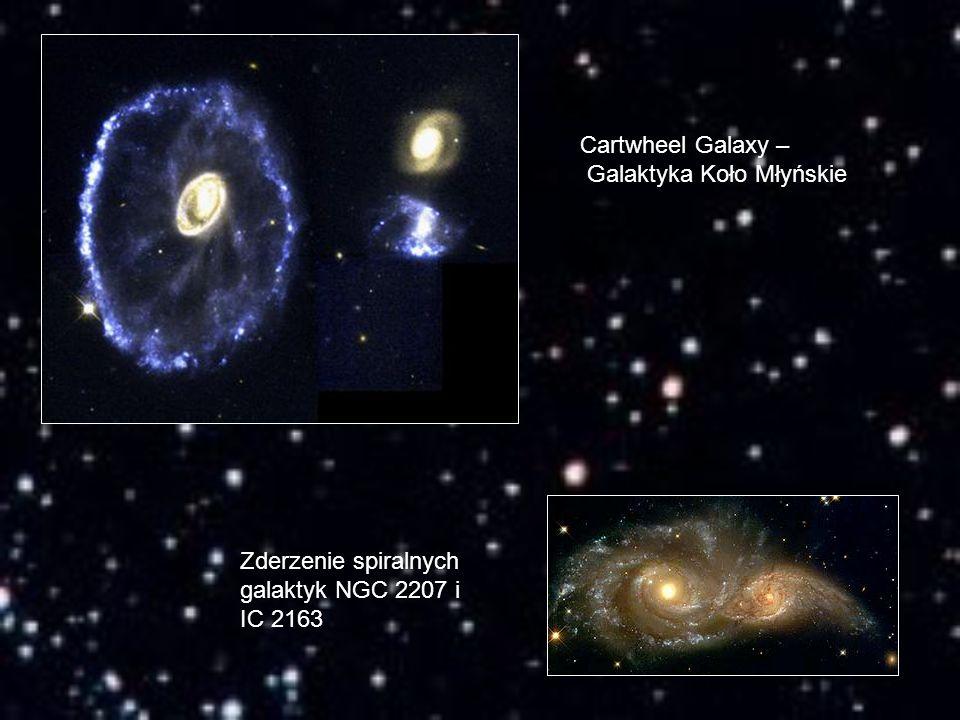 Cartwheel Galaxy – Galaktyka Koło Młyńskie Zderzenie spiralnych galaktyk NGC 2207 i IC 2163