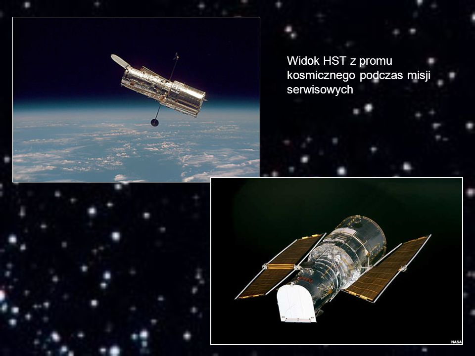 Widok HST z promu kosmicznego podczas misji serwisowych