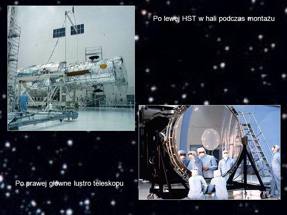 Po lewej HST w hali podczas montażu Po prawej główne lustro teleskopu