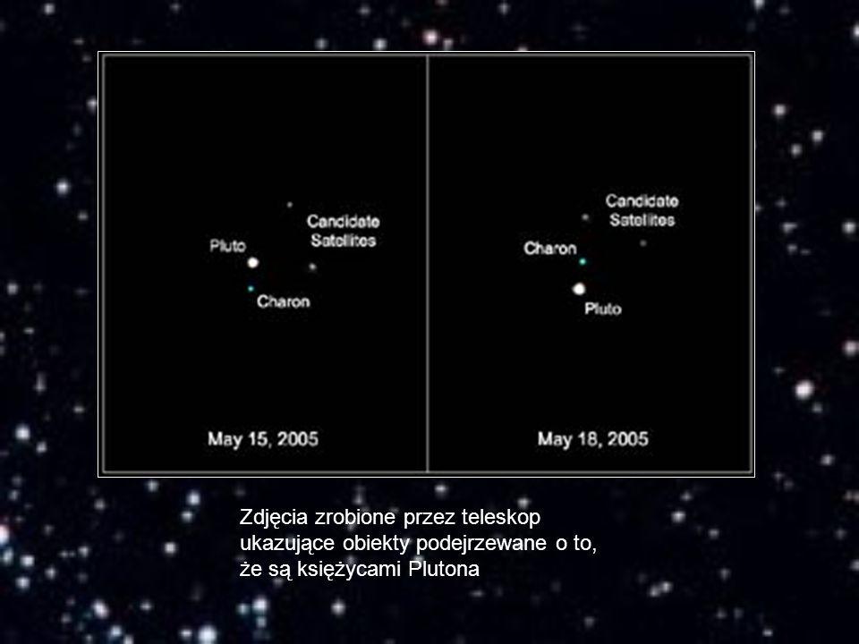 Zdjęcia zrobione przez teleskop ukazujące obiekty podejrzewane o to, że są księżycami Plutona