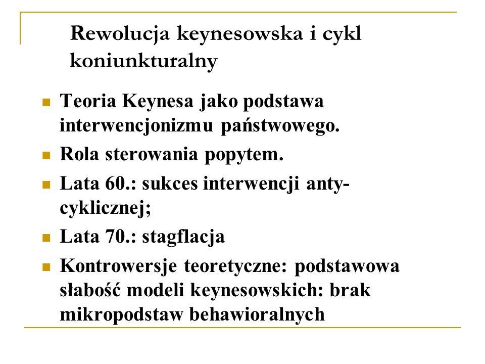 Rewolucja keynesowska i cykl koniunkturalny Teoria Keynesa jako podstawa interwencjonizmu państwowego.