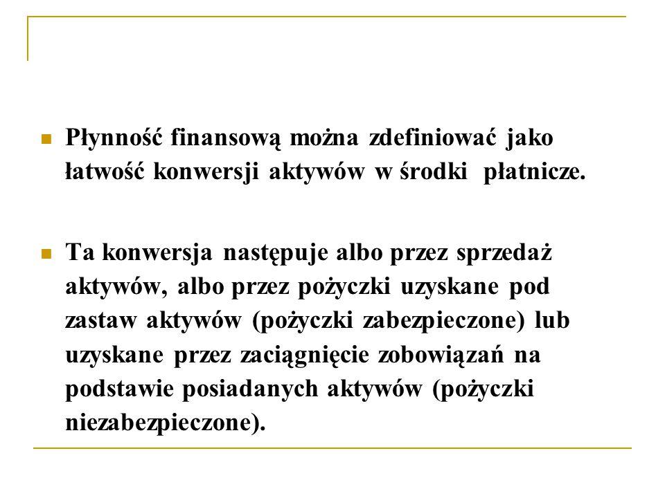 Płynność finansową można zdefiniować jako łatwość konwersji aktywów w środki płatnicze.
