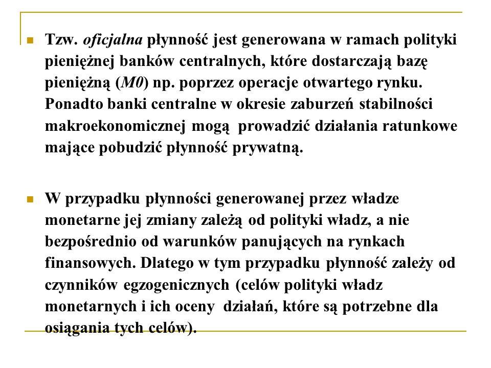 Tzw. oficjalna płynność jest generowana w ramach polityki pieniężnej banków centralnych, które dostarczają bazę pieniężną (M0) np. poprzez operacje ot