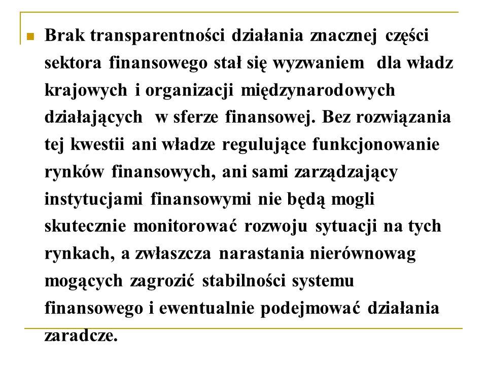 Brak transparentności działania znacznej części sektora finansowego stał się wyzwaniem dla władz krajowych i organizacji międzynarodowych działających w sferze finansowej.