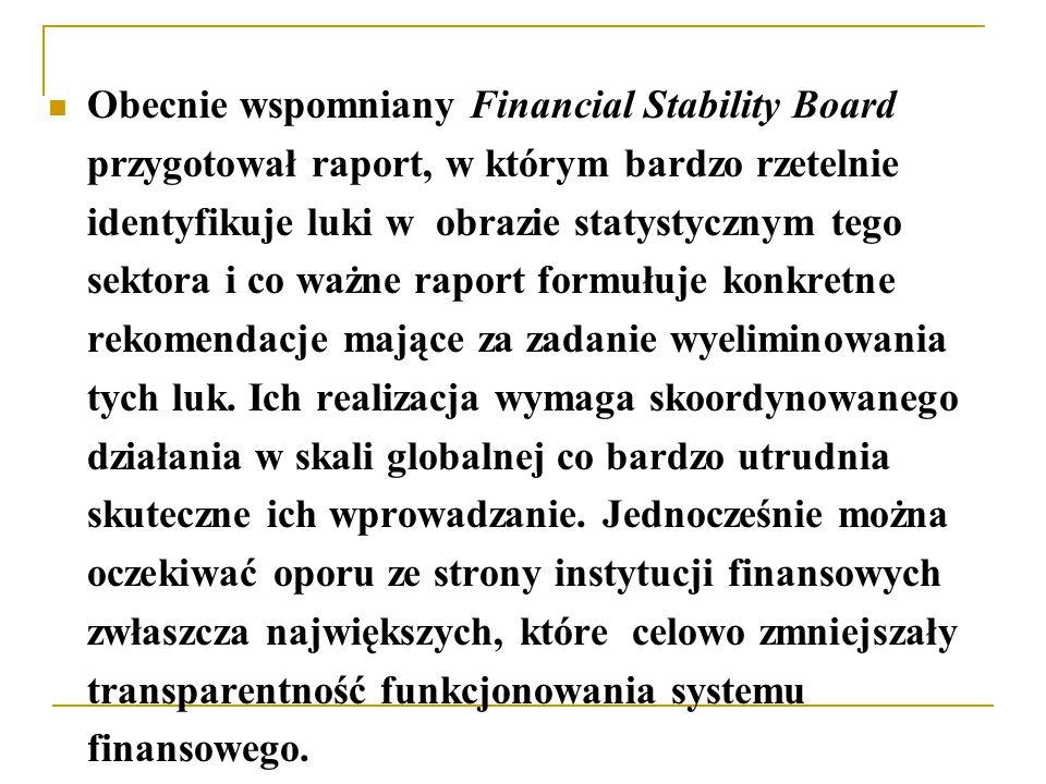 Obecnie wspomniany Financial Stability Board przygotował raport, w którym bardzo rzetelnie identyfikuje luki w obrazie statystycznym tego sektora i co ważne raport formułuje konkretne rekomendacje mające za zadanie wyeliminowania tych luk.