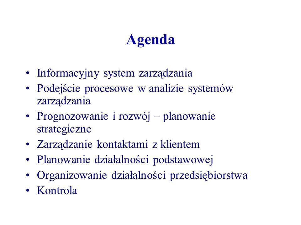 Agenda Informacyjny system zarządzania Podejście procesowe w analizie systemów zarządzania Prognozowanie i rozwój – planowanie strategiczne Zarządzani
