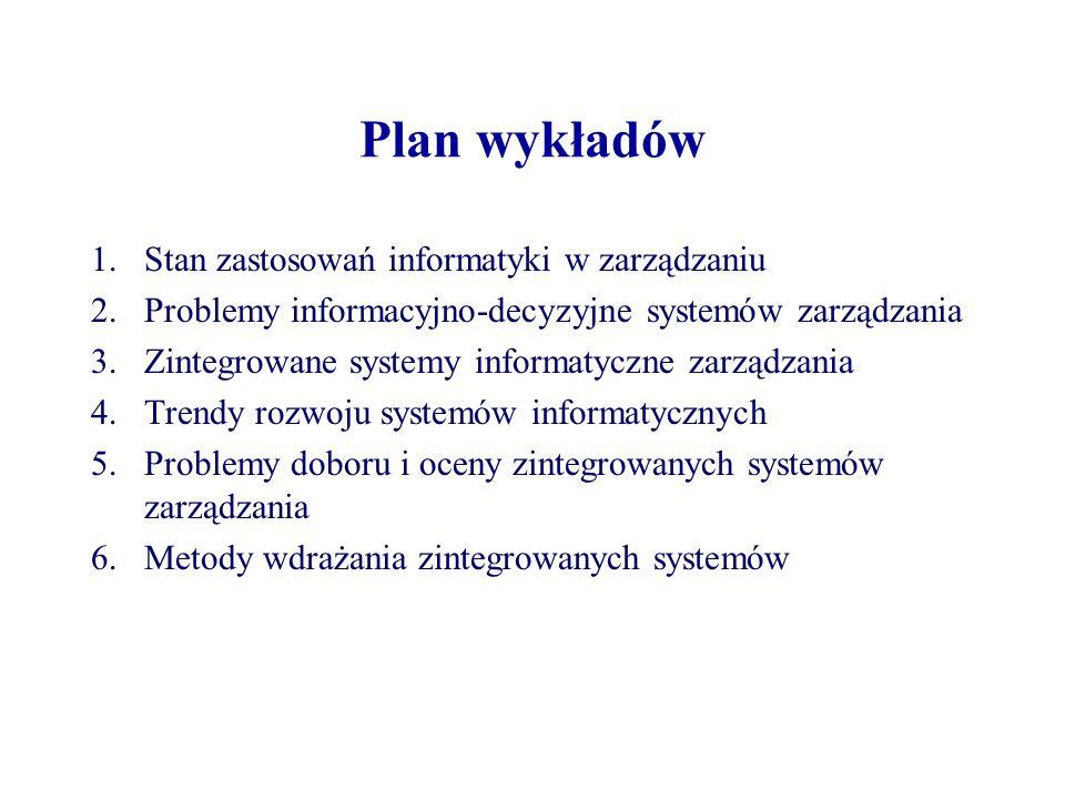 Plan wykładów 1.Stan zastosowań informatyki w zarządzaniu 2.Problemy informacyjno-decyzyjne systemów zarządzania 3.Zintegrowane systemy informatyczne