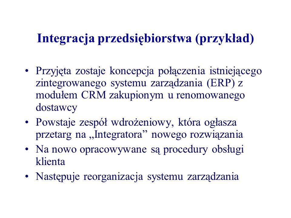 Integracja przedsiębiorstwa (przykład) Przyjęta zostaje koncepcja połączenia istniejącego zintegrowanego systemu zarządzania (ERP) z modułem CRM zakup