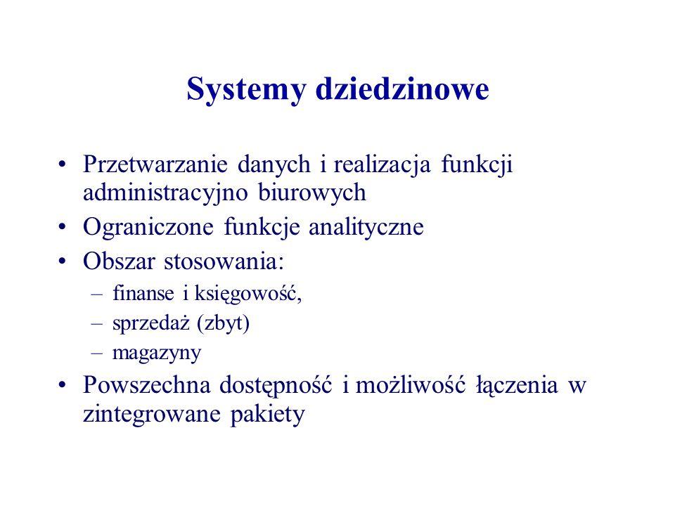 Systemy dziedzinowe Przetwarzanie danych i realizacja funkcji administracyjno biurowych Ograniczone funkcje analityczne Obszar stosowania: –finanse i