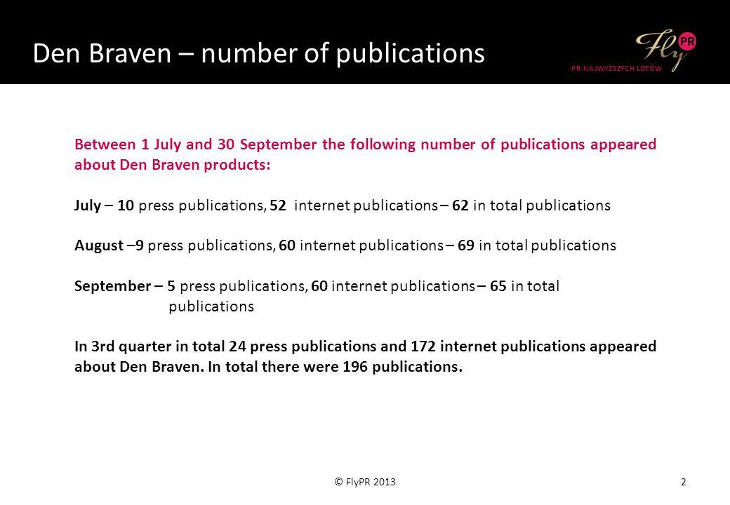 Selena – number of publications 13© FlyPR 2014 PR NAJWYŻSZYCH LOTÓW Publications between July 1 and September 30