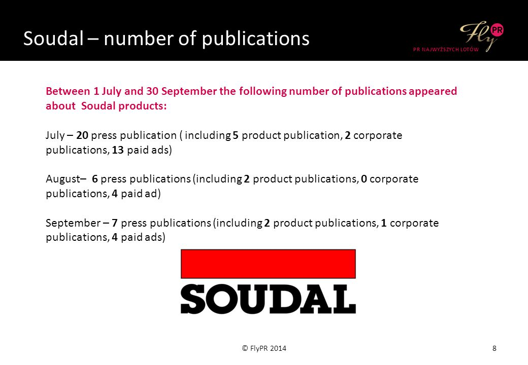 Soudal – number of publications 9© FlyPR 2014 PR NAJWYŻSZYCH LOTÓW Publications between July 1 and September 30