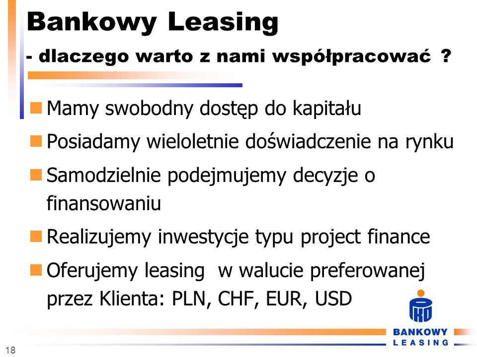 18 Bankowy Leasing - dlaczego warto z nami współpracować ? Mamy swobodny dostęp do kapitału Posiadamy wieloletnie doświadczenie na rynku Samodzielnie