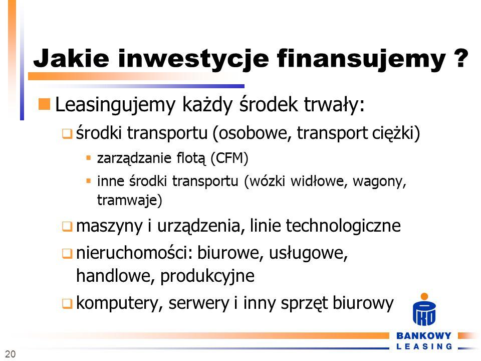20 Jakie inwestycje finansujemy ? Leasingujemy każdy środek trwały:  środki transportu (osobowe, transport ciężki)  zarządzanie flotą (CFM)  inne ś