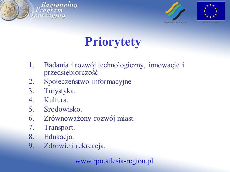 www.rpo.silesia-region.pl Priorytety 1.Badania i rozwój technologiczny, innowacje i przedsiębiorczość 2.Społeczeństwo informacyjne 3.Turystyka.