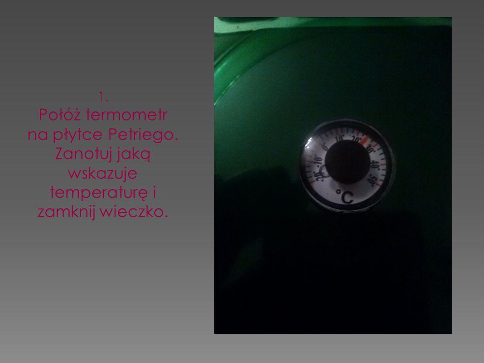 1. Połóż termometr na płytce Petriego. Zanotuj jaką wskazuje temperaturę i zamknij wieczko.
