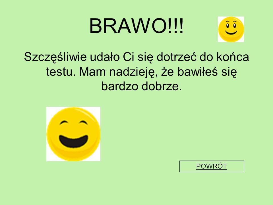 BRAWO!!! Szczęśliwie udało Ci się dotrzeć do końca testu. Mam nadzieję, że bawiłeś się bardzo dobrze. POWRÓT