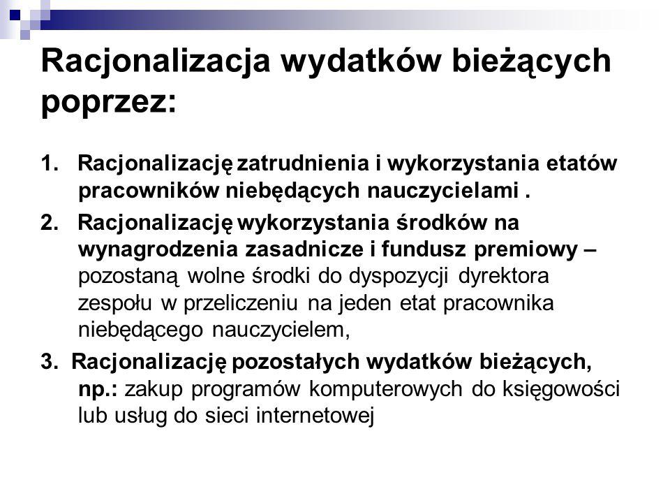 Racjonalizacja wydatków bieżących poprzez: 1. Racjonalizację zatrudnienia i wykorzystania etatów pracowników niebędących nauczycielami. 2. Racjonaliza