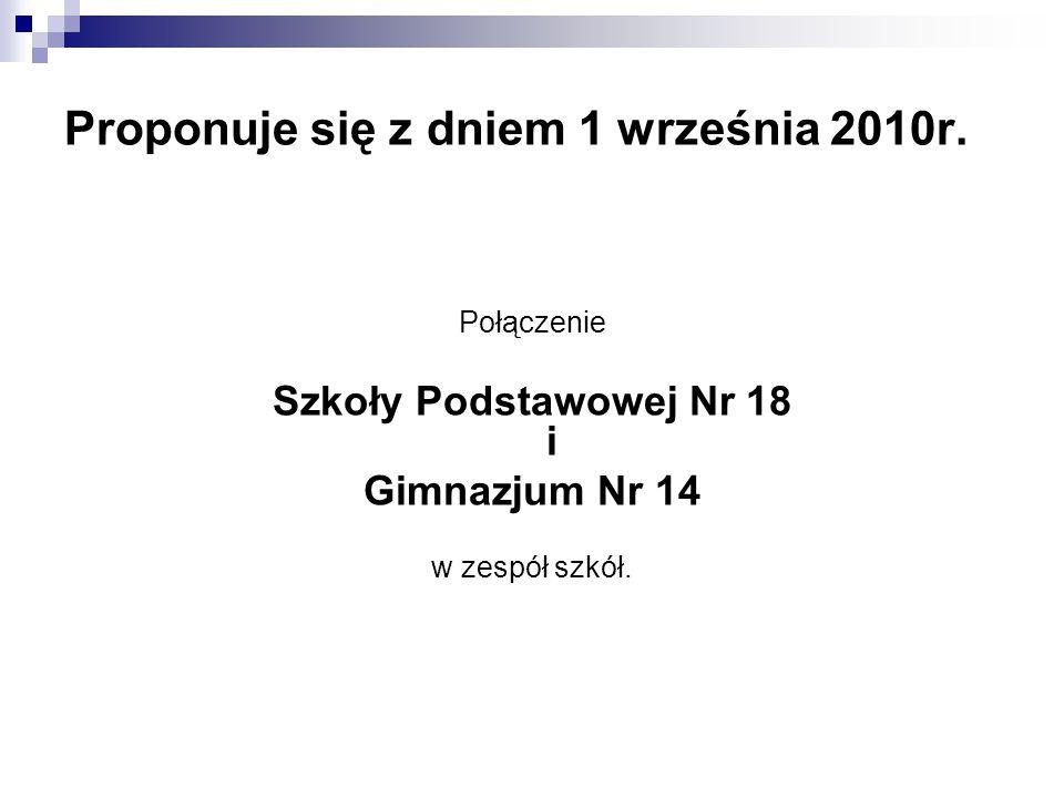 Proponuje się z dniem 1 września 2010r. Połączenie Szkoły Podstawowej Nr 18 i Gimnazjum Nr 14 w zespół szkół.