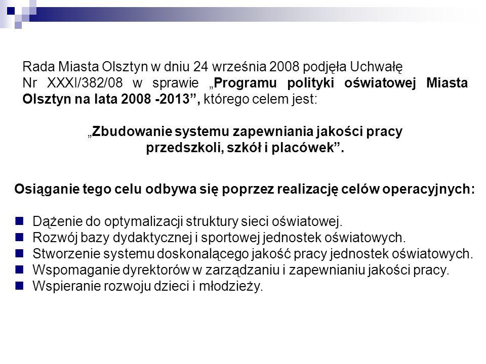 """Rada Miasta Olsztyn w dniu 24 września 2008 podjęła Uchwałę Nr XXXI/382/08 w sprawie """"Programu polityki oświatowej Miasta Olsztyn na lata 2008 -2013"""","""