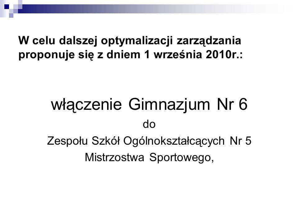W celu dalszej optymalizacji zarządzania proponuje się z dniem 1 września 2010r.: włączenie Gimnazjum Nr 6 do Zespołu Szkół Ogólnokształcących Nr 5 Mi