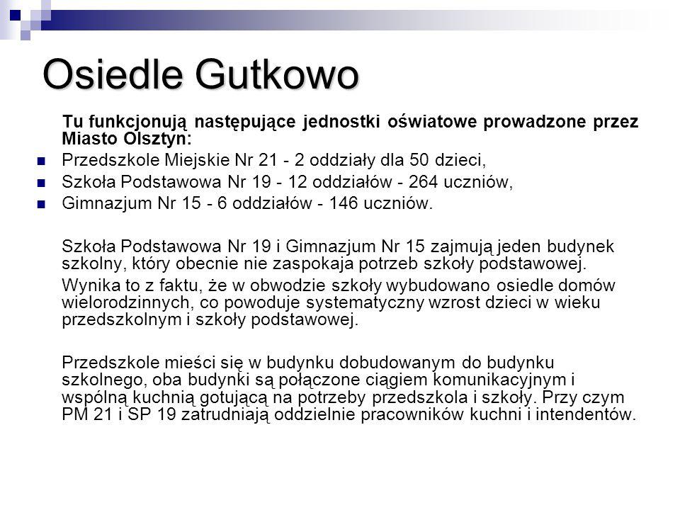 Osiedle Gutkowo Tu funkcjonują następujące jednostki oświatowe prowadzone przez Miasto Olsztyn: Przedszkole Miejskie Nr 21 - 2 oddziały dla 50 dzieci,