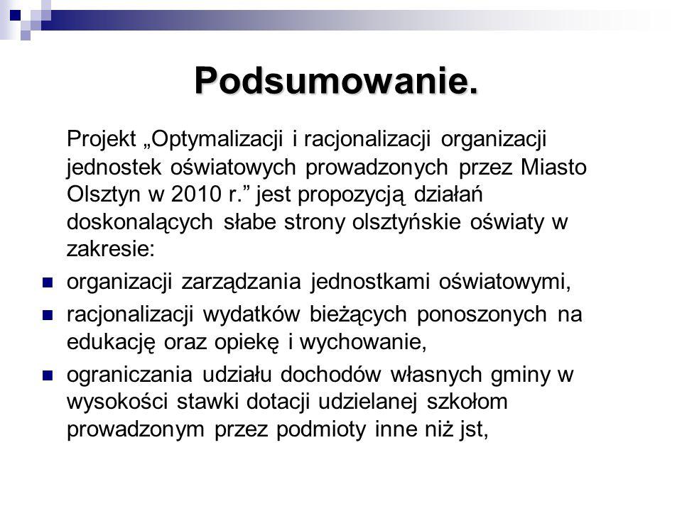 """Podsumowanie. Projekt """"Optymalizacji i racjonalizacji organizacji jednostek oświatowych prowadzonych przez Miasto Olsztyn w 2010 r."""" jest propozycją d"""
