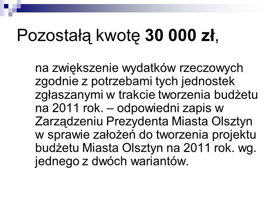 Pozostałą kwotę 30 000 zł, na zwiększenie wydatków rzeczowych zgodnie z potrzebami tych jednostek zgłaszanymi w trakcie tworzenia budżetu na 2011 rok.