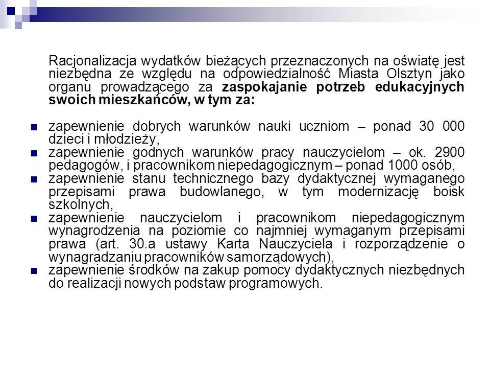 Racjonalizacja wydatków bieżących przeznaczonych na oświatę jest niezbędna ze względu na odpowiedzialność Miasta Olsztyn jako organu prowadzącego za z