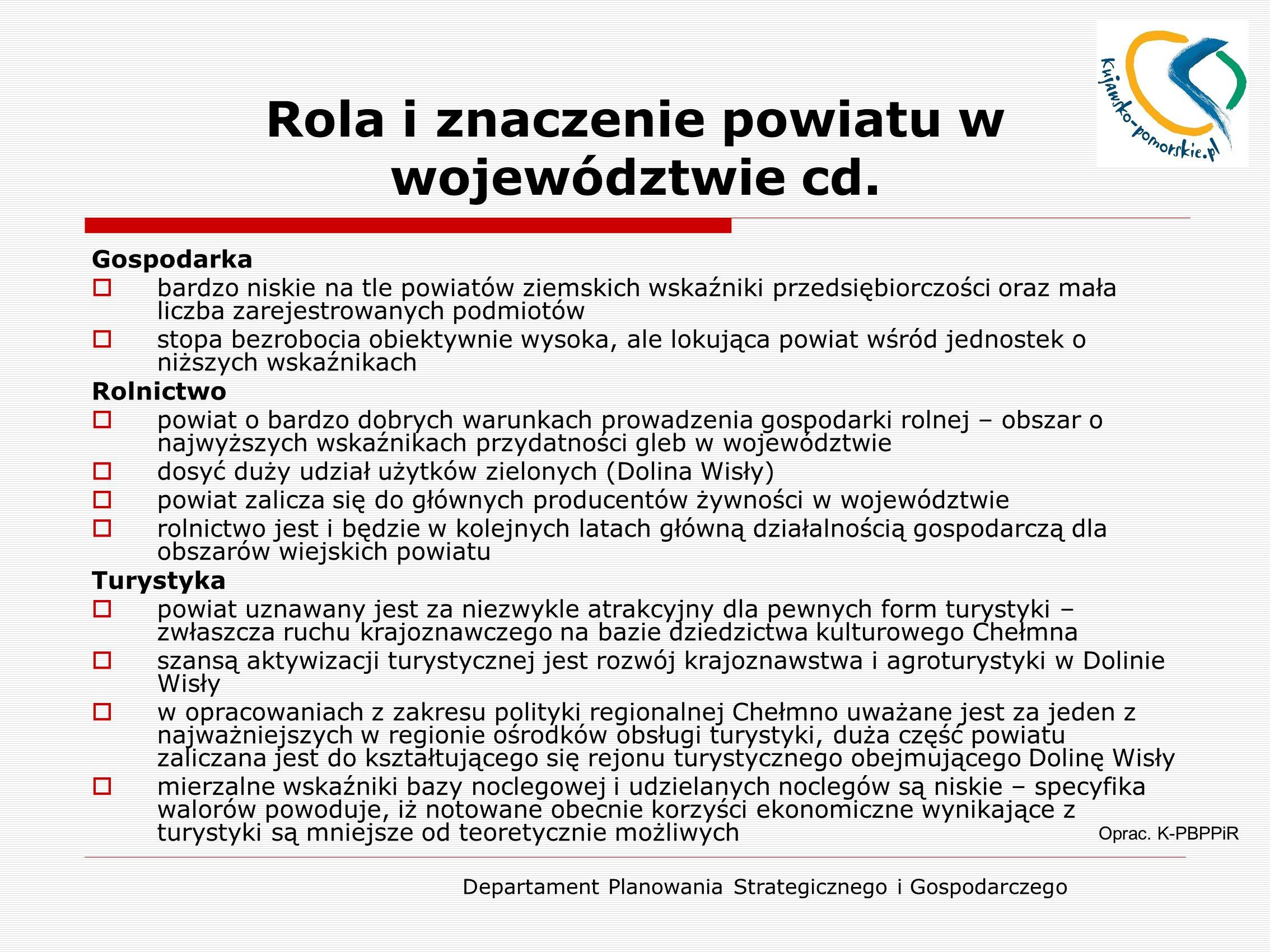 Departament Planowania Strategicznego i Gospodarczego Rola i znaczenie powiatu w województwie cd. Oprac. K-PBPPiR Gospodarka  bardzo niskie na tle po