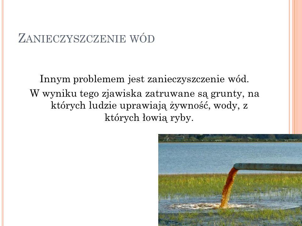 Innym problemem jest zanieczyszczenie wód.