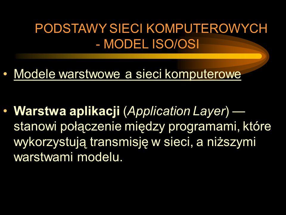 Modele warstwowe a sieci komputerowe Warstwa aplikacji (Application Layer) — stanowi połączenie między programami, które wykorzystują transmisję w sie