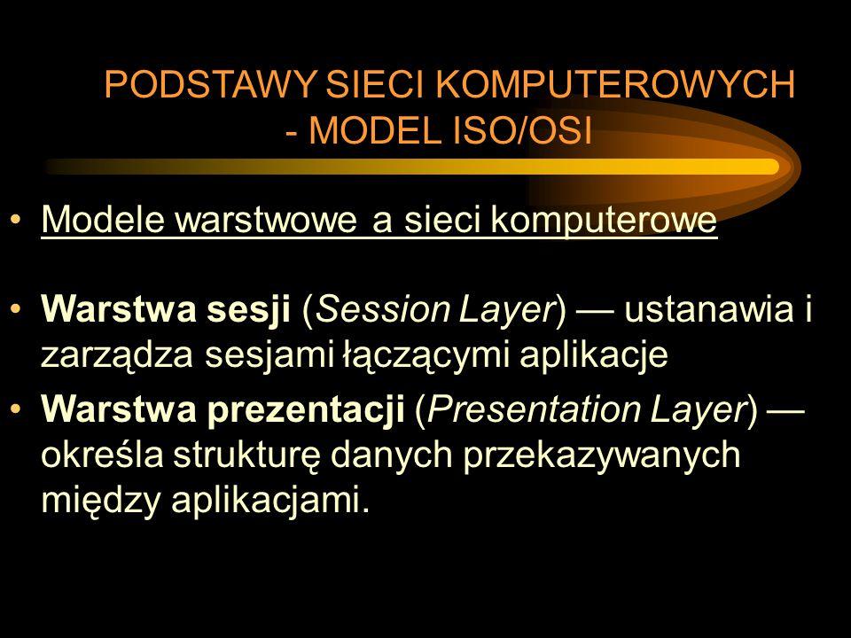 Modele warstwowe a sieci komputerowe Warstwa sesji (Session Layer) — ustanawia i zarządza sesjami łączącymi aplikacje Warstwa prezentacji (Presentatio