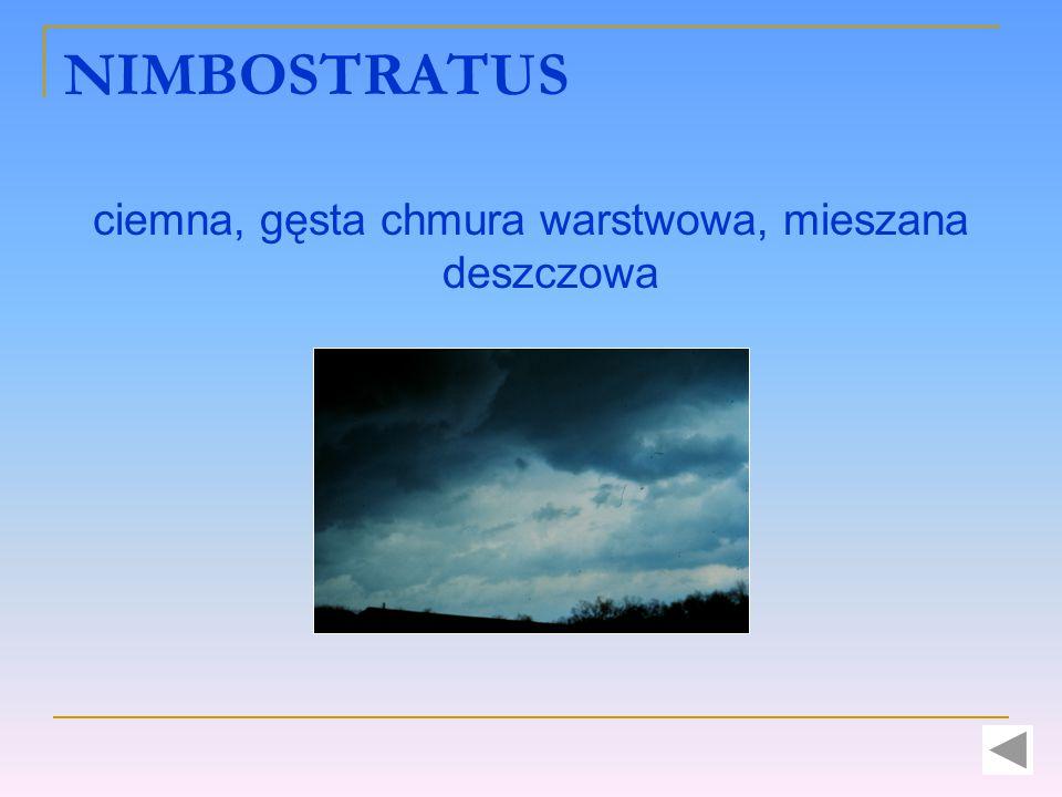 NIMBOSTRATUS ciemna, gęsta chmura warstwowa, mieszana deszczowa