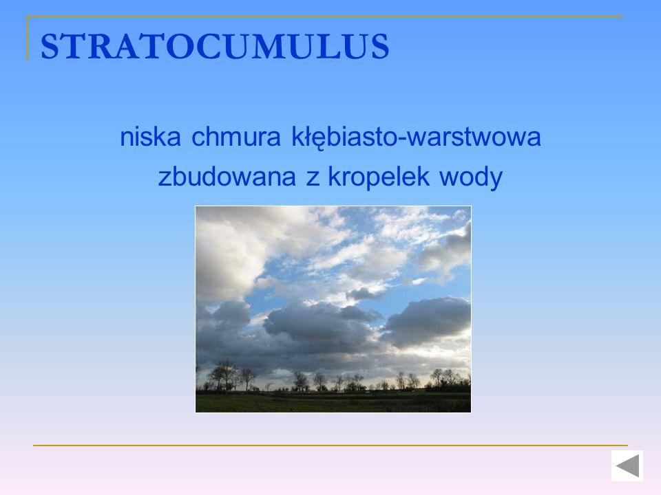 STRATOCUMULUS niska chmura kłębiasto-warstwowa zbudowana z kropelek wody