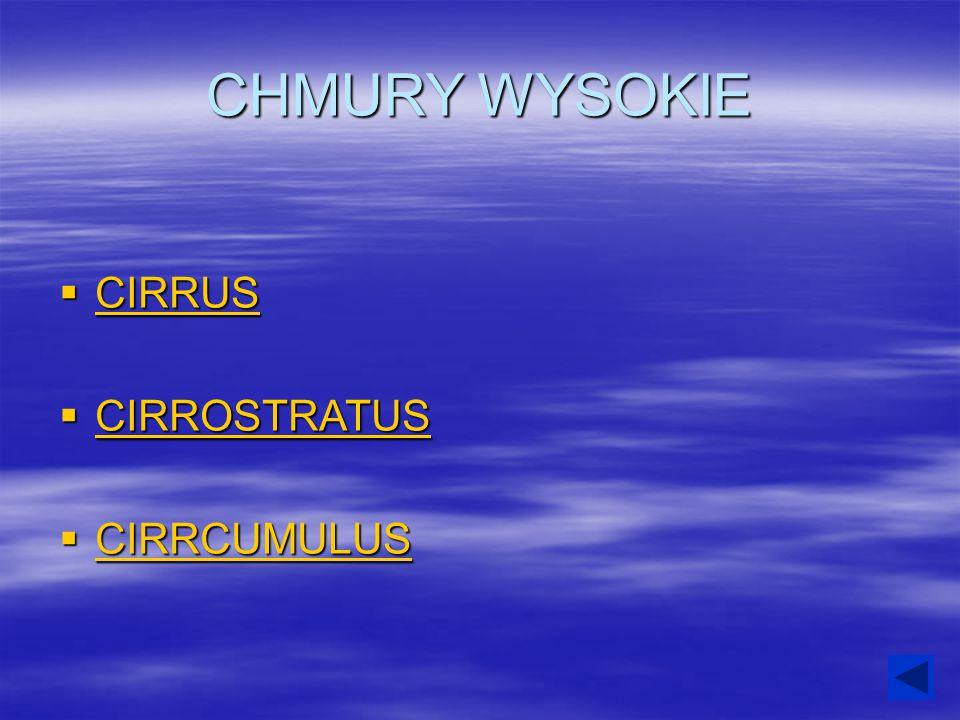 CHMURY WYSOKIE  CIRRUS CIRRUS  CIRROSTRATUS CIRROSTRATUS  CIRRCUMULUS CIRRCUMULUS