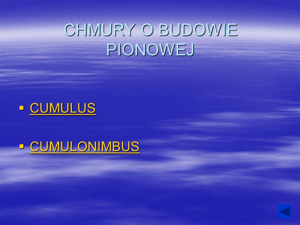 CHMURY O BUDOWIE PIONOWEJ  CUMULUS CUMULUS  CUMULONIMBUS CUMULONIMBUS