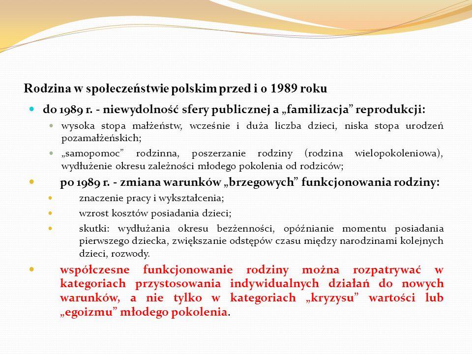"""Rodzina w społeczeństwie polskim przed i o 1989 roku do 1989 r. - niewydolność sfery publicznej a """"familizacja"""" reprodukcji: wysoka stopa małżeństw, w"""