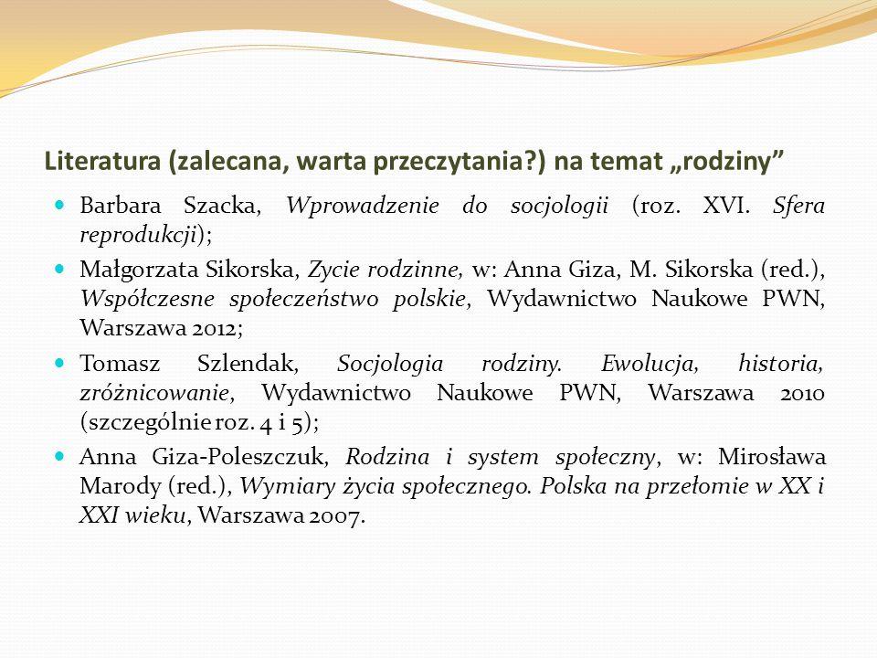 """Literatura (zalecana, warta przeczytania?) na temat """"rodziny Barbara Szacka, Wprowadzenie do socjologii (roz."""