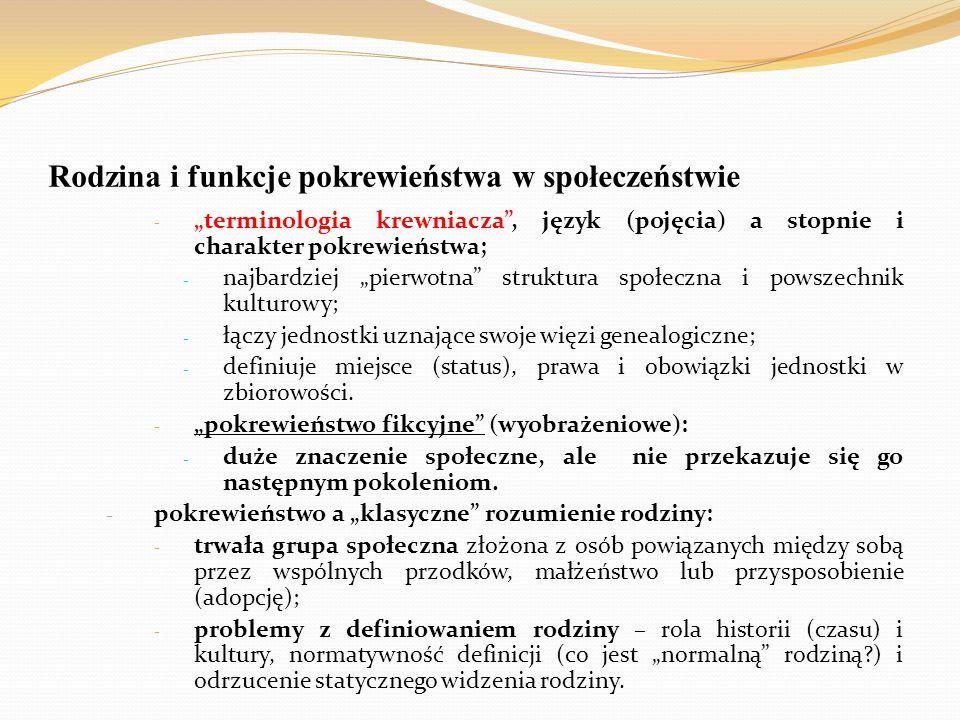 """Rodzina i funkcje pokrewieństwa w społeczeństwie - """"terminologia krewniacza"""", język (pojęcia) a stopnie i charakter pokrewieństwa; - najbardziej """"pier"""