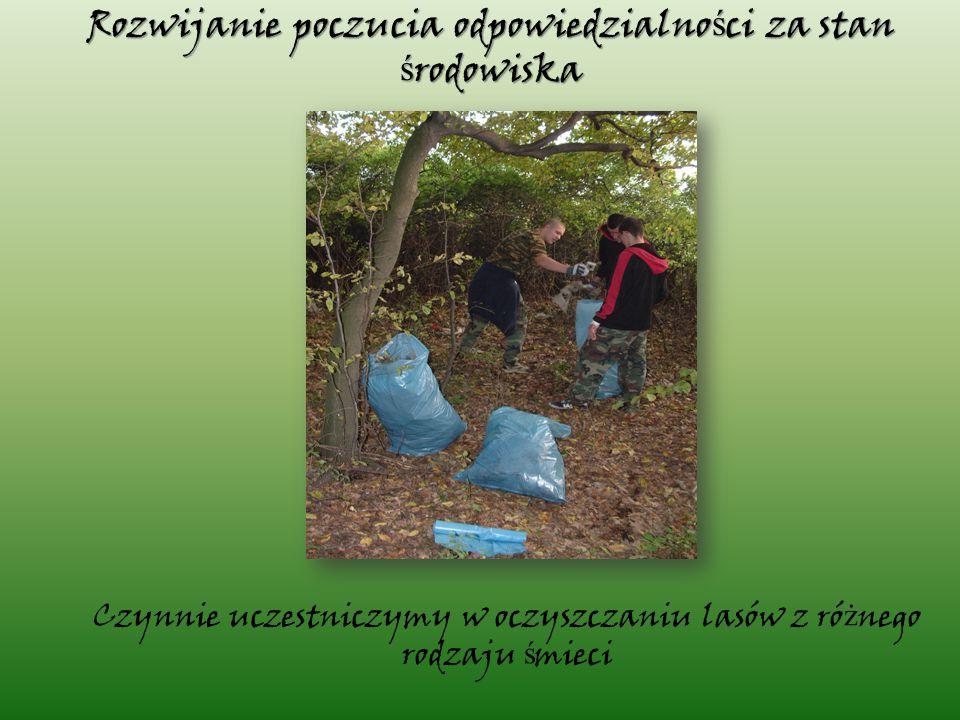 Czynnie uczestniczymy w oczyszczaniu lasów z ró ż nego rodzaju ś mieci Rozwijanie poczucia odpowiedzialno ś ci za stan ś rodowiska