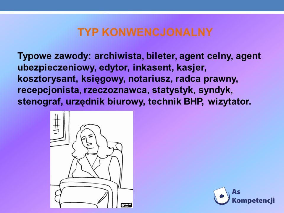 TYP KONWENCJONALNY Typowe zawody: archiwista, bileter, agent celny, agent ubezpieczeniowy, edytor, inkasent, kasjer, kosztorysant, księgowy, notariusz