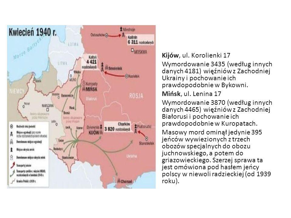 Kijów, ul. Korolienki 17 Wymordowanie 3435 (według innych danych 4181) więźniów z Zachodniej Ukrainy i pochowanie ich prawdopodobnie w Bykowni. Mińsk,