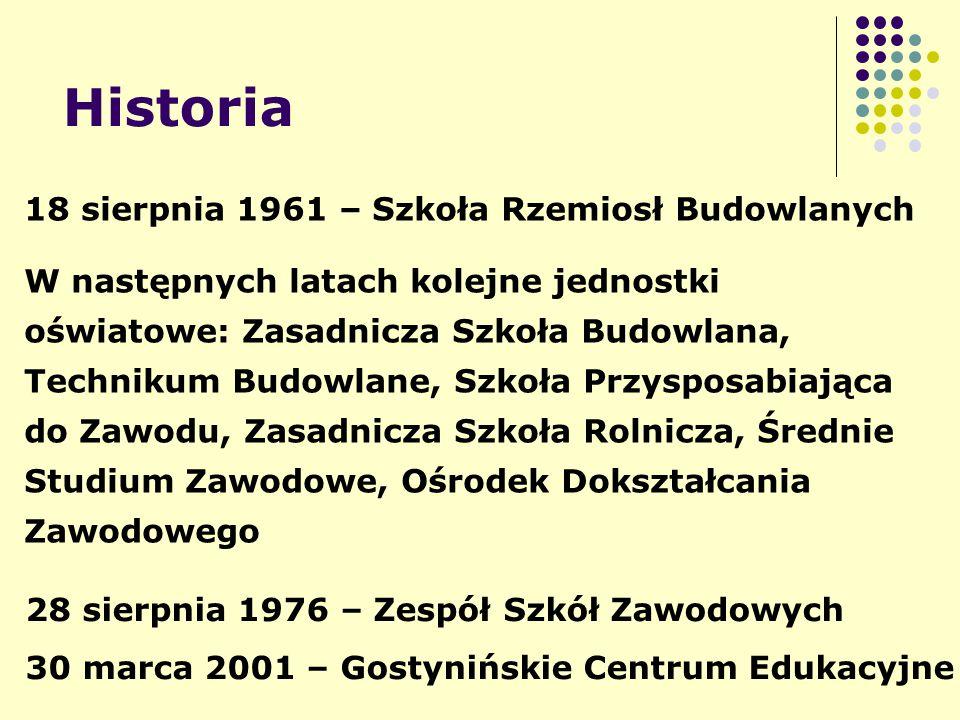 Historia 18 sierpnia 1961 – Szkoła Rzemiosł Budowlanych W następnych latach kolejne jednostki oświatowe: Zasadnicza Szkoła Budowlana, Technikum Budowl