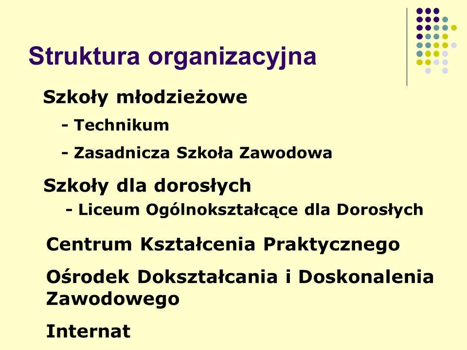 Struktura organizacyjna Szkoły młodzieżowe - Technikum - Zasadnicza Szkoła Zawodowa Szkoły dla dorosłych - Liceum Ogólnokształcące dla Dorosłych Centrum Kształcenia Praktycznego Ośrodek Dokształcania i Doskonalenia Zawodowego Internat