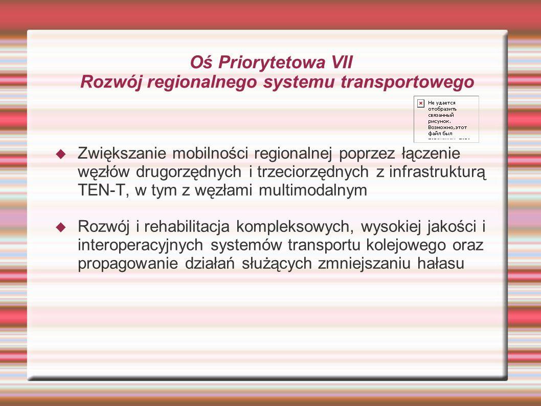 Oś Priorytetowa VII Rozwój regionalnego systemu transportowego  Zwiększanie mobilności regionalnej poprzez łączenie węzłów drugorzędnych i trzeciorzędnych z infrastrukturą TEN-T, w tym z węzłami multimodalnym  Rozwój i rehabilitacja kompleksowych, wysokiej jakości i interoperacyjnych systemów transportu kolejowego oraz propagowanie działań służących zmniejszaniu hałasu